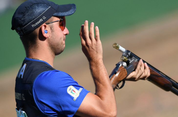Italy's world and Olympic skeet shooting champion Gabriele Rossetti had to settle for silver at the ISSF World Cup in Changwon as Vincent Hancock of the United States equalled the world record to claim victory ©Getty Images