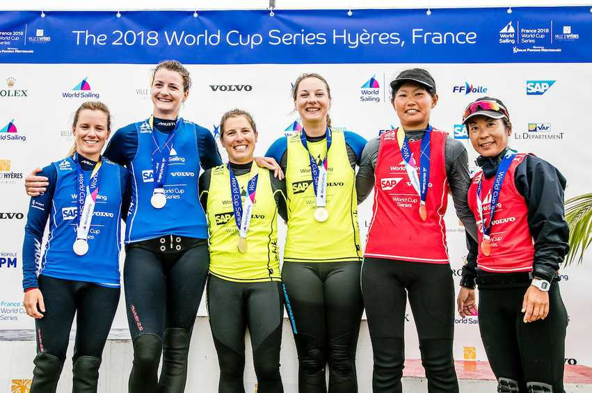 France's Camille Lecointre and Aloise Retornaz held off a strong challenge from Britain's Hannah Mills and Eilidh McIntyre to win the Women's 470.class at Hyères ©World Sailing