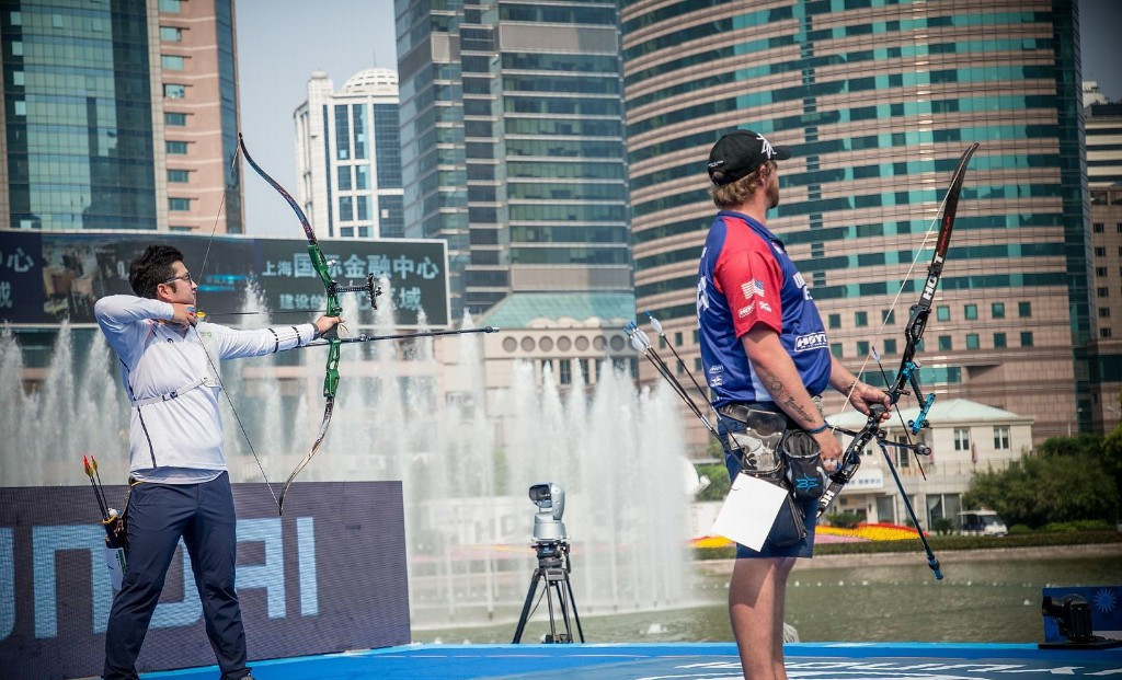 South Korea's Kim Woojin, left, earned his third gold of the Archery World Cup in Shanghai by defeating Brady Ellison of the United States in the individual final ©World Archery