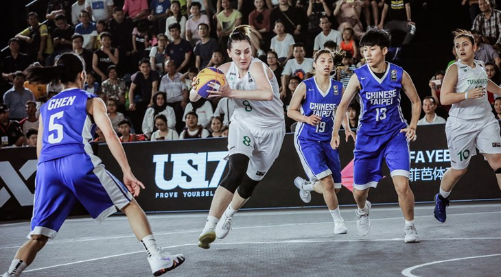 Turkmenistan's Ayna Gokova, centre, finished top scorer in the women's event on the opening day of the main draw of the 3x3 Asia Cup, with 18 points, but her team were knocked out ©FIBA