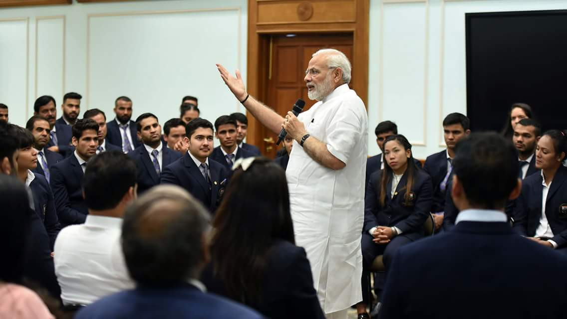India's Prime Minister Narendra Modi told the country's Commonwealth Games medallists that their performances at Gold Coast 2018 had inspired the country ©Twitter