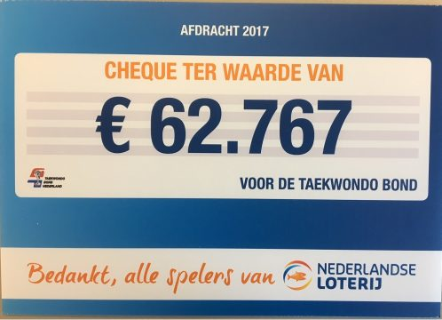 Taekwondo Federation Netherlands benefited from contribution from Dutch Lottery in 2017