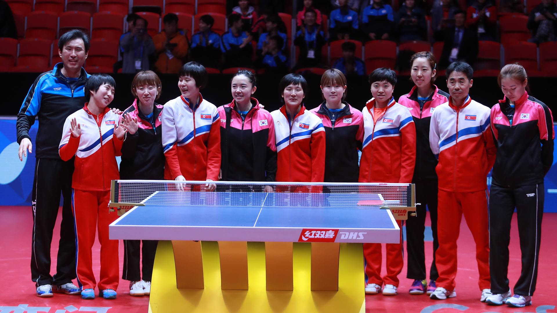 North and South Korea refused to play each other in the quarter-finals and instead formed a unified team ©ITTF