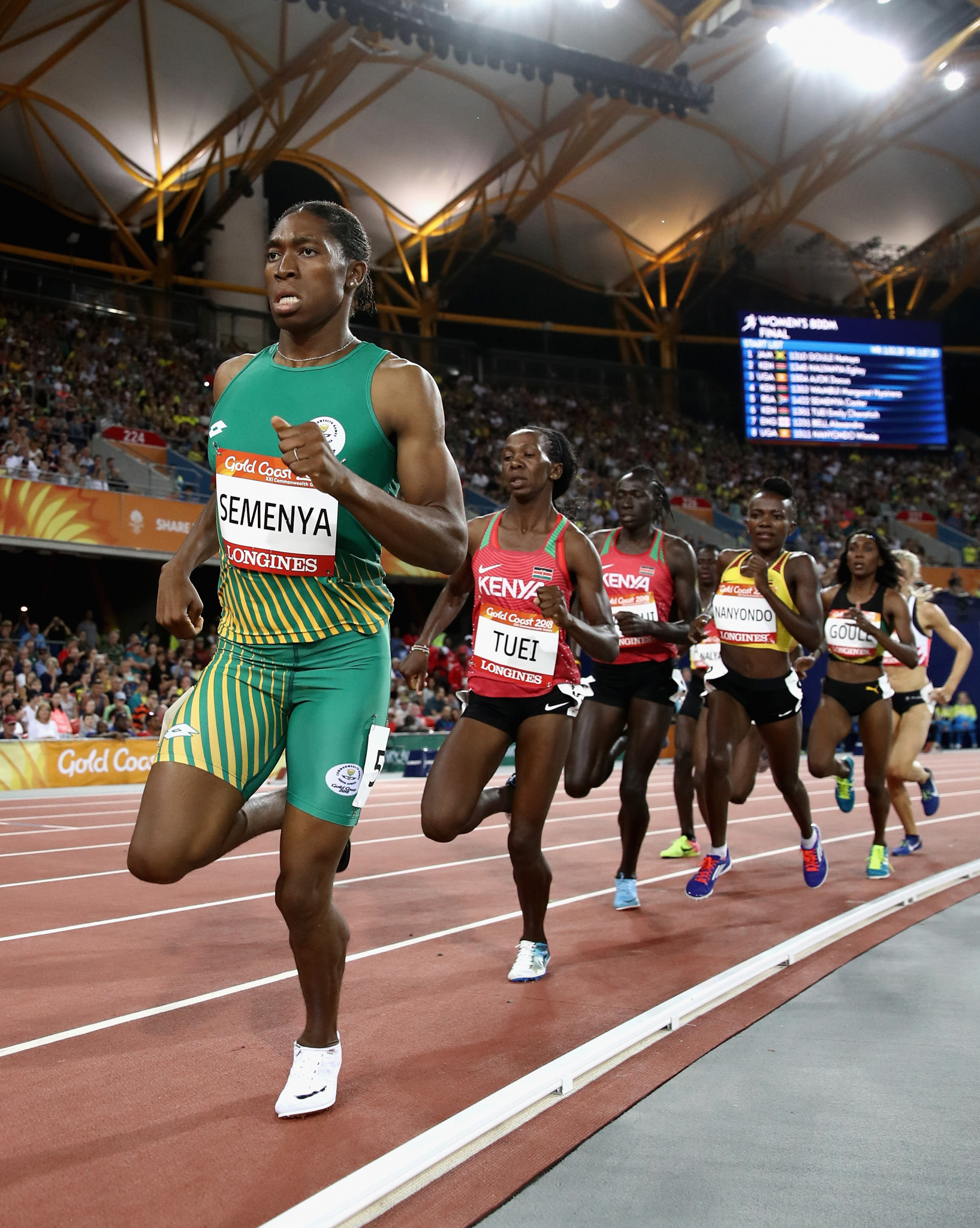 Caster Semenya, en route to Commonwealth 800m gold last month, has received widespread support within South Africa following the recent IAAF ruling on restricting testosterone levels in female athletes ©Getty Images