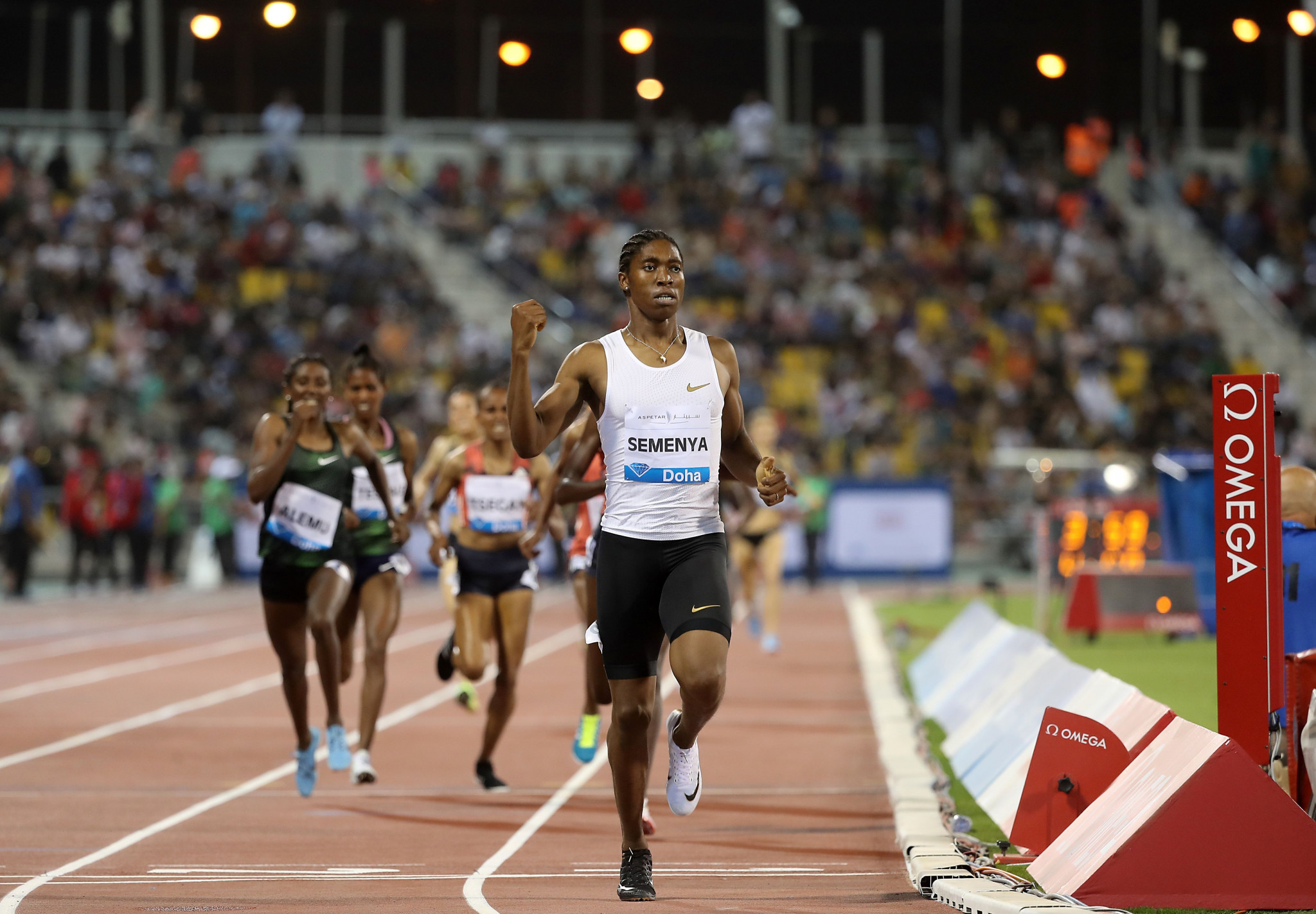 Caster Semenya wins the women's 1500m at the IAAF Diamond League meeting in Doha ©Getty Images