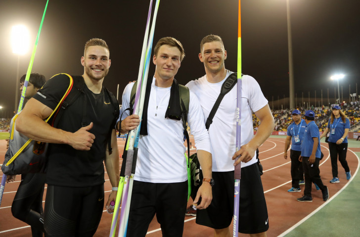 World champion Johannes Vetter, left, Olympic champion and winner on the night Thomas Röhler, centre, and their German colleague Andreas Hoffman - the first three men to throw over 90m in the same javelin competition ©Getty Images