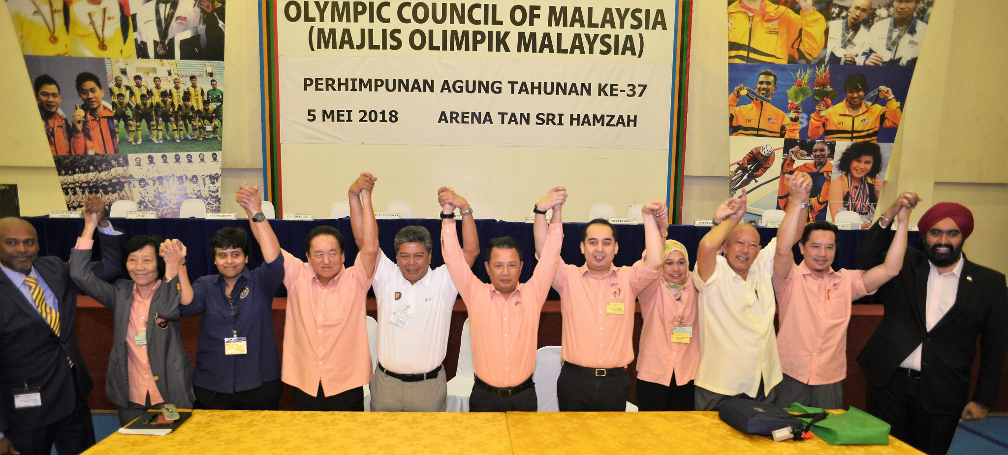 Newly elected Olympic Council of Malaysia officials celebrate following their election today ©Olympic Council of Malaysia/Facebook