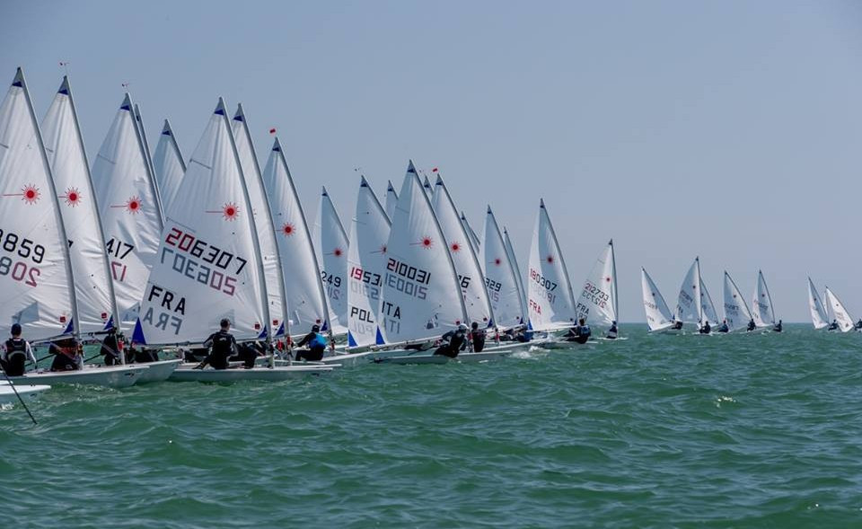 Today saw the first set of qualifiers get underway at the Laser European Championships ©EurlLCA/Facebook