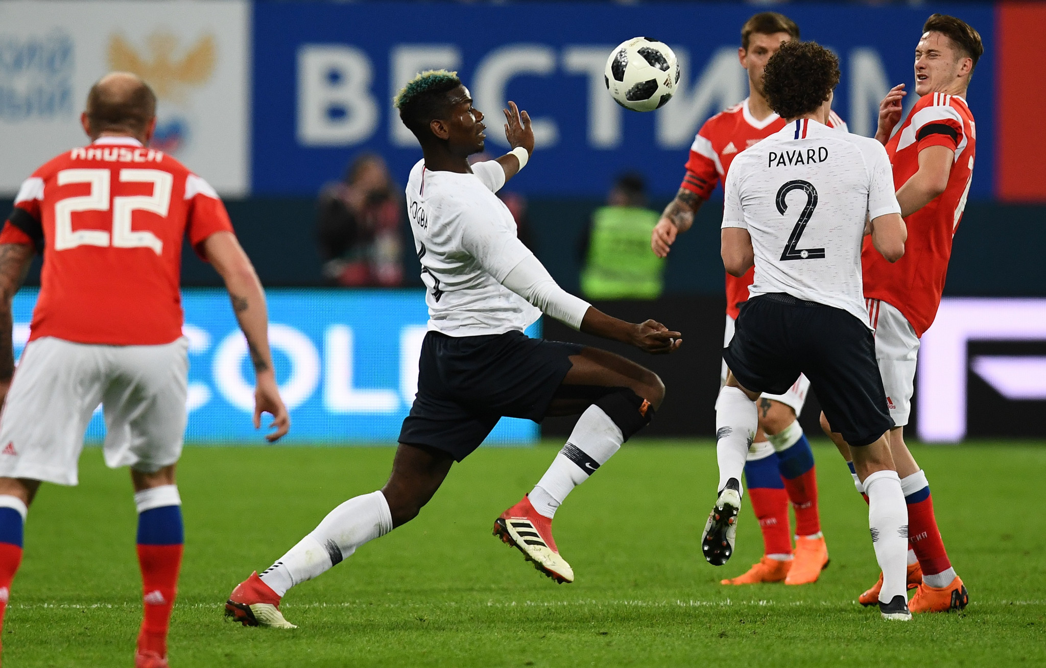 Paul Pogba was among those subjected to monkey chants from sections of the Russian fans at the match ©Getty Images