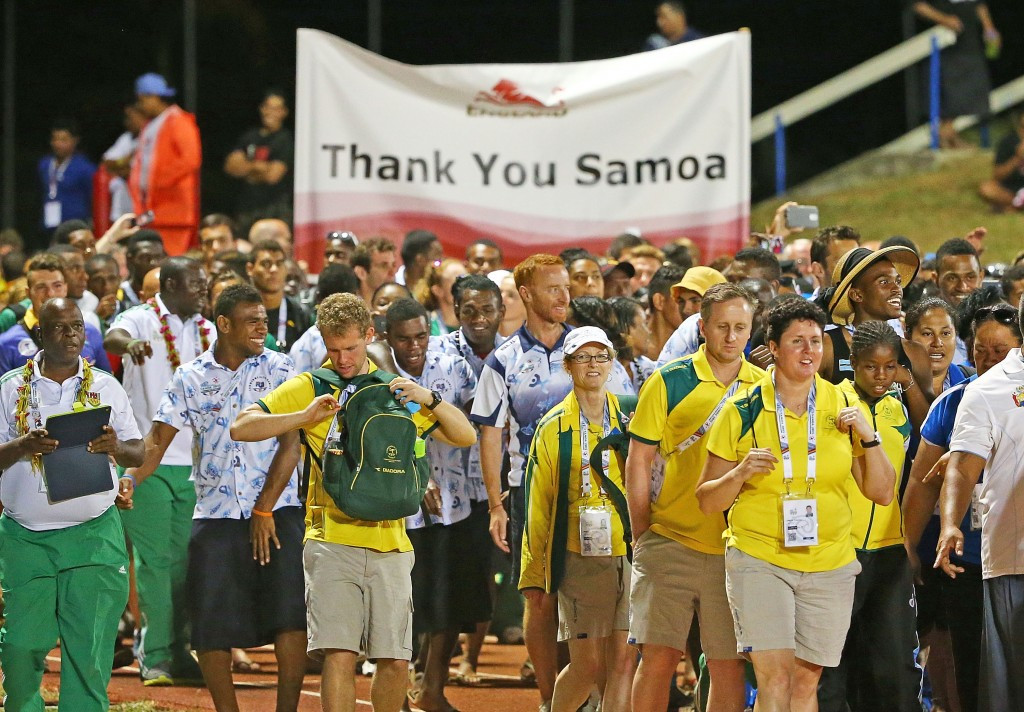 Athletes and officials from the competing nation's paraded together at the beginning of the Ceremony