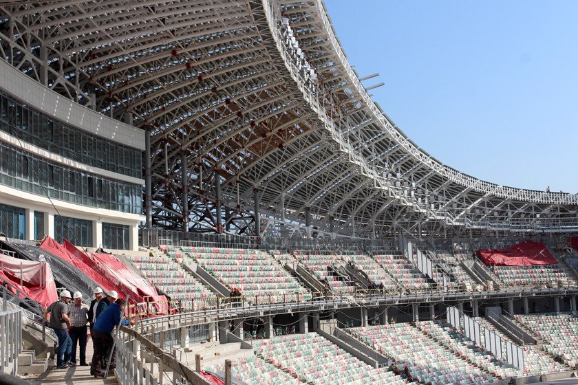 Sport Ministry officials visit Dinamo Stadium as reconstruction of Minsk 2019 venue approaches completion
