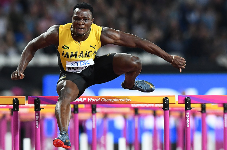 Omar McLeod, pictured en route to last year's 110m hurdles world title, will lead the challenge in tomorrow night's Diamond League race in Shanghai ©Getty Images