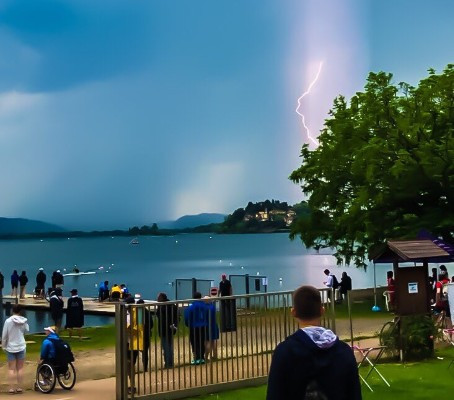A thunderstorm briefly delayed competition today at the Para-rowing event ©World Rowing