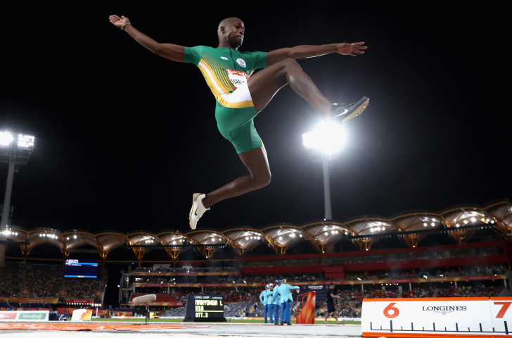 South Africa's world and Commonwealth long jump champion Luvo Manyonga earned another impressive win at the IAAF Diamond League meeting in Shanghai ©Getty Images