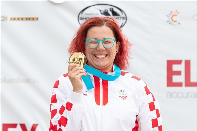 Croatia's Snježana Pejčić won the women's 50m rifle three positions event ©ISSF