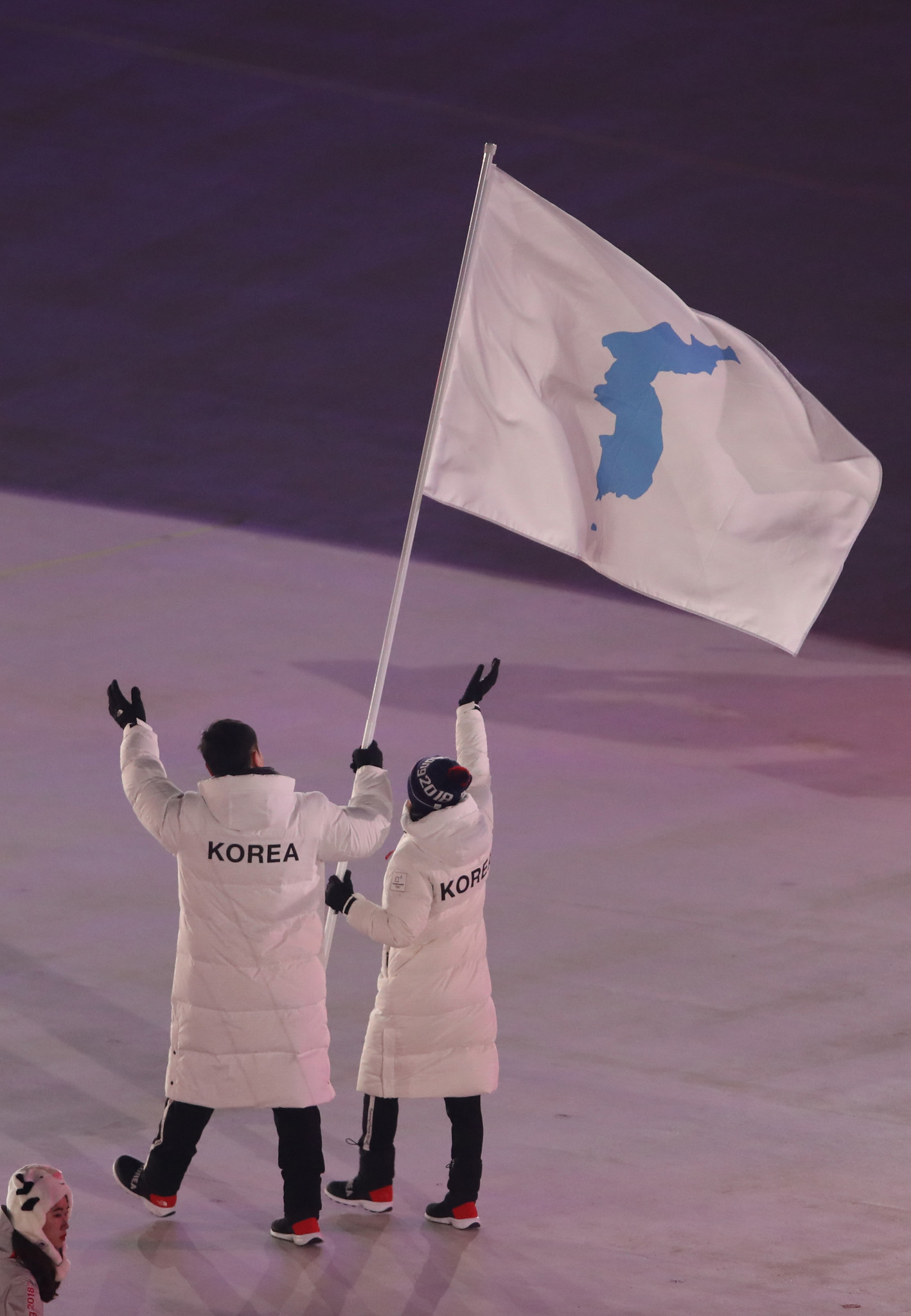 The unified Korea flag is flown at the Pyeongchang 2018 Winter Olympics in the South in February ©Getty Images