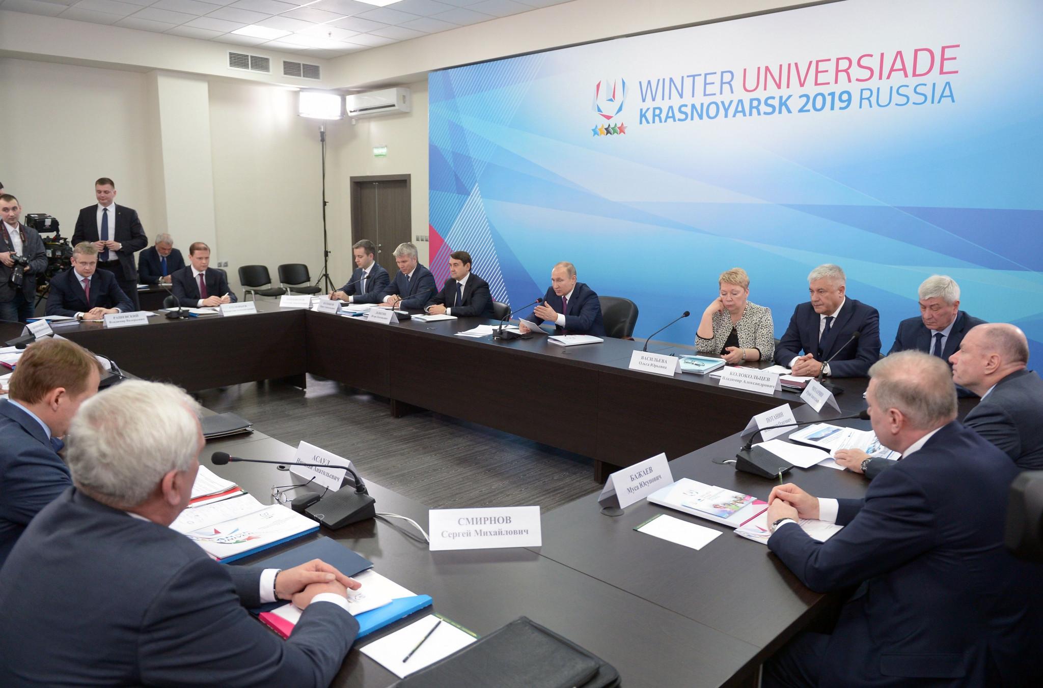 Russian President Vladimir Putin has been overseeing preparations for the Krasnoyarsk 2019 Winter Universiade ©Getty Images
