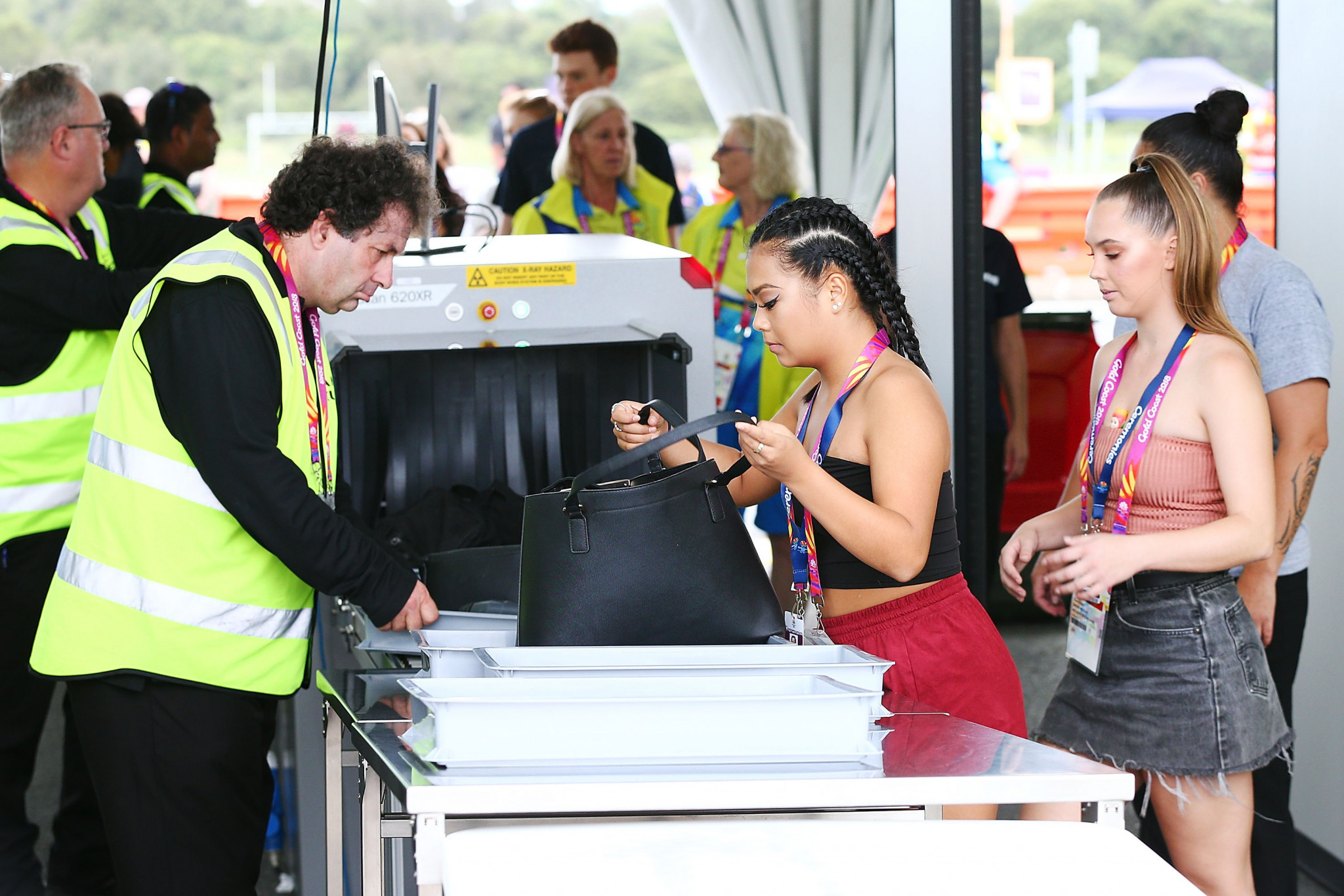 Security checks take place during the Gold Coast 2018 Commonwealth Games ©Getty Images
