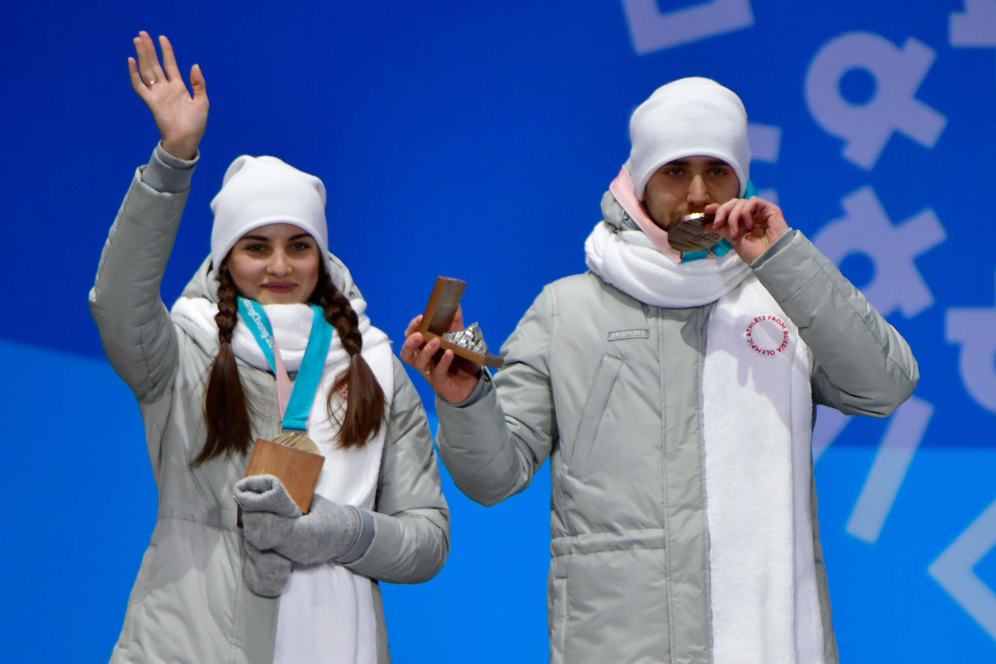 Aleksandr Krushelnitckii, right, and Anastasia Bryzgalova were later stripped of the bronze medals secured at Pyeongchang 2018 ©Getty Images