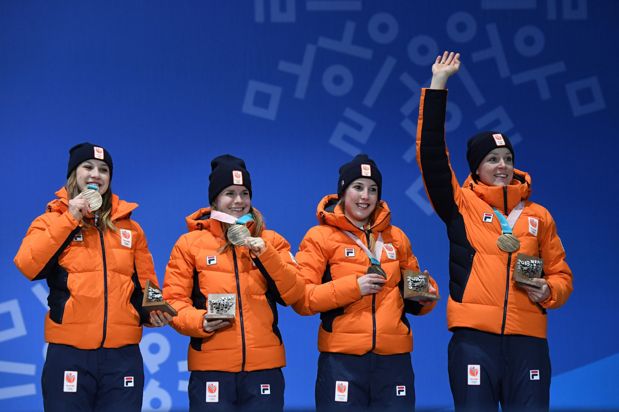 Yara van Kerkhof, second left, won two medals at Pyeongchang 2018 ©Getty Images
