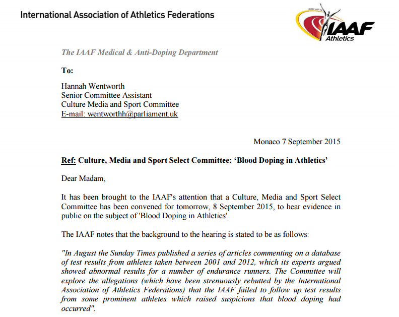The opening paragraphs of the letter sent by the IAAF to the Commons Culture, Media and Sport Select Committee warning them about the dangers of identifying individual athletes