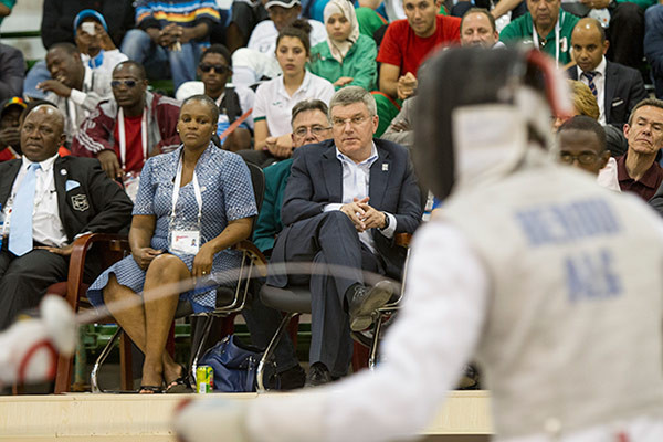 IOC President Thomas Bach attended part of the 2014 African Youth Games in Gabarone ©IOC
