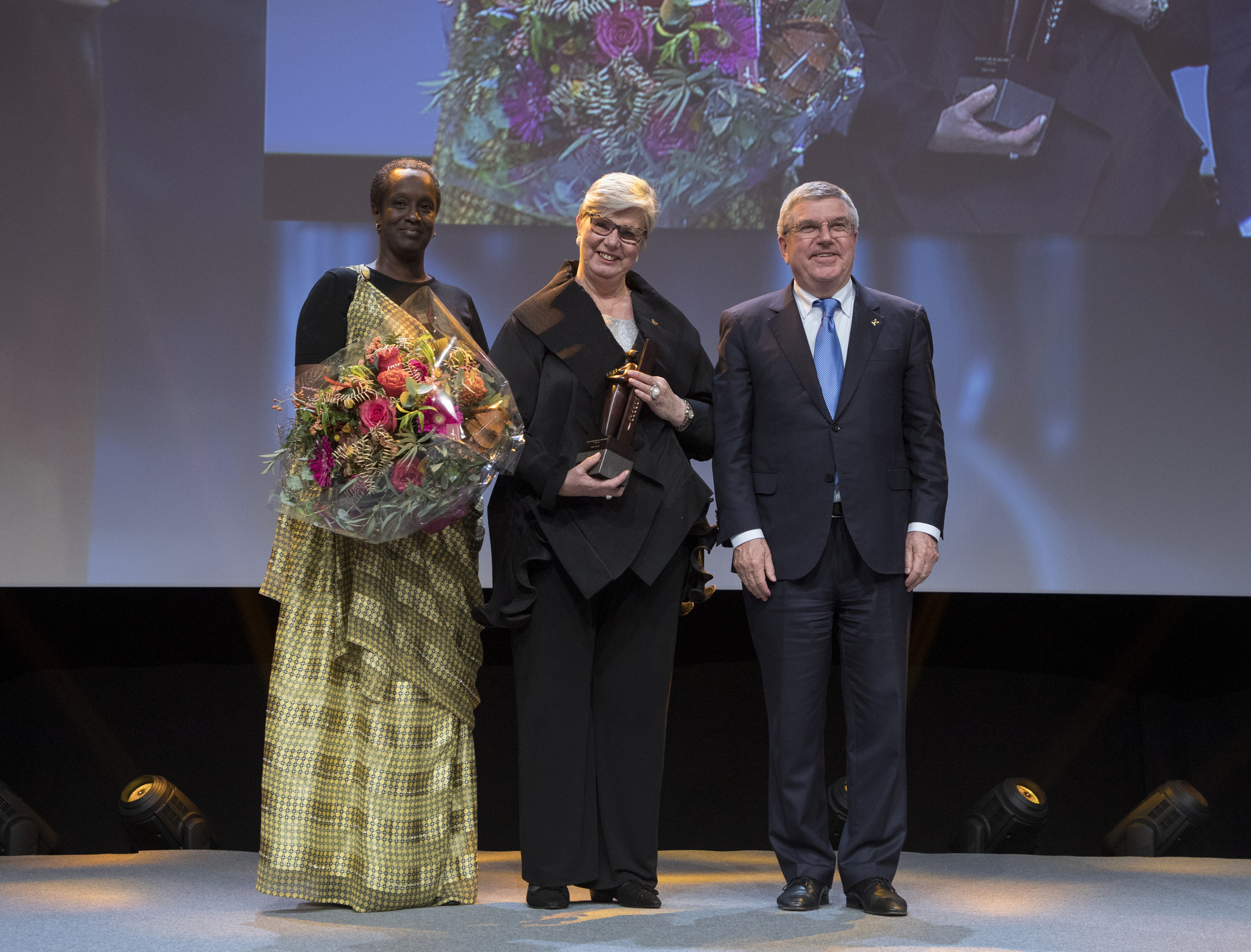 Finland's Birgitta Kervinen, centre, winner of the 2017 Women and Sport World Trophy, encouraged the game-changers to continue demanding for action ©IOC