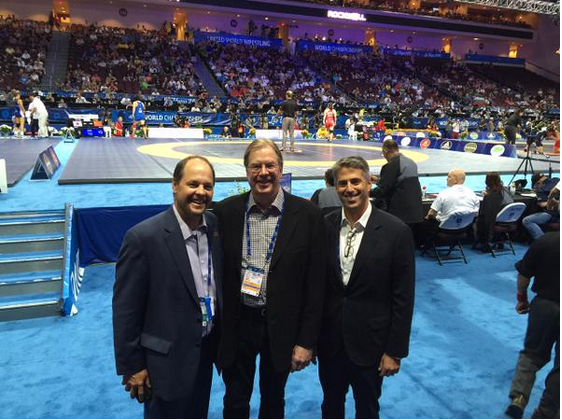 Los Angeles 2024 chairman Casey Wasserman (right) attended the World Wrestling Championships in Las Vegas ©Twitter