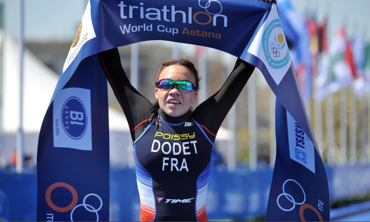 France's Sandra Dodet claimed her maiden win at an International Triathlon Union World Cup today ©ITU