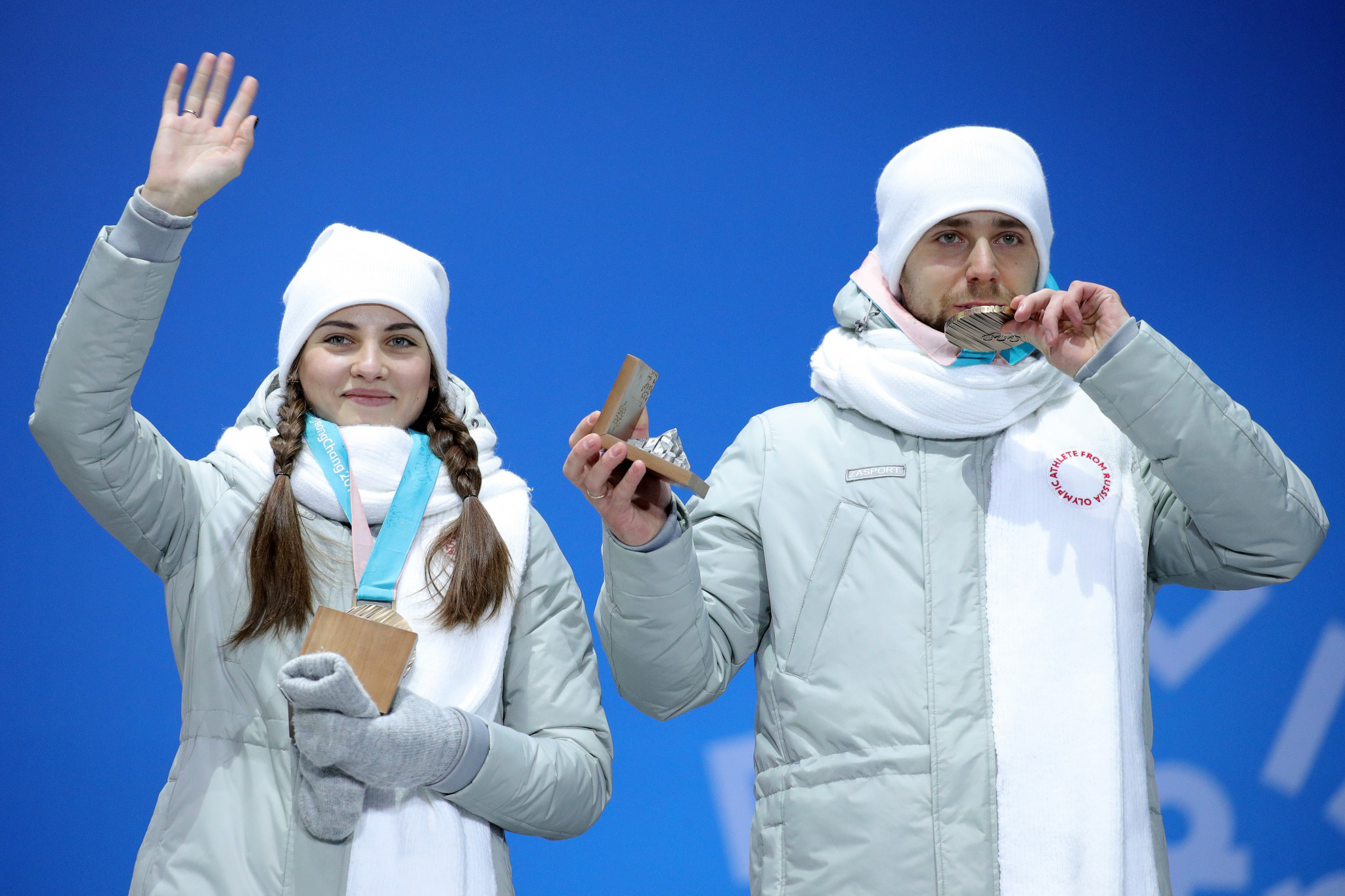 Aleksandr Krushelnitckii and his wife and partner Anastasia Bryzgalova were stripped of their bronze medals ©Getty Images