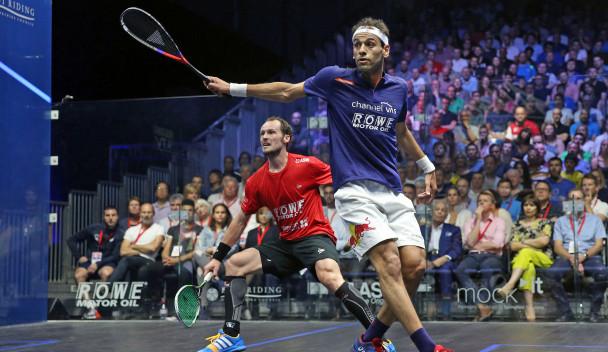 Mohamed ElShorbagy won a thriller against Gregory Gaultier ©PSA World Tour
