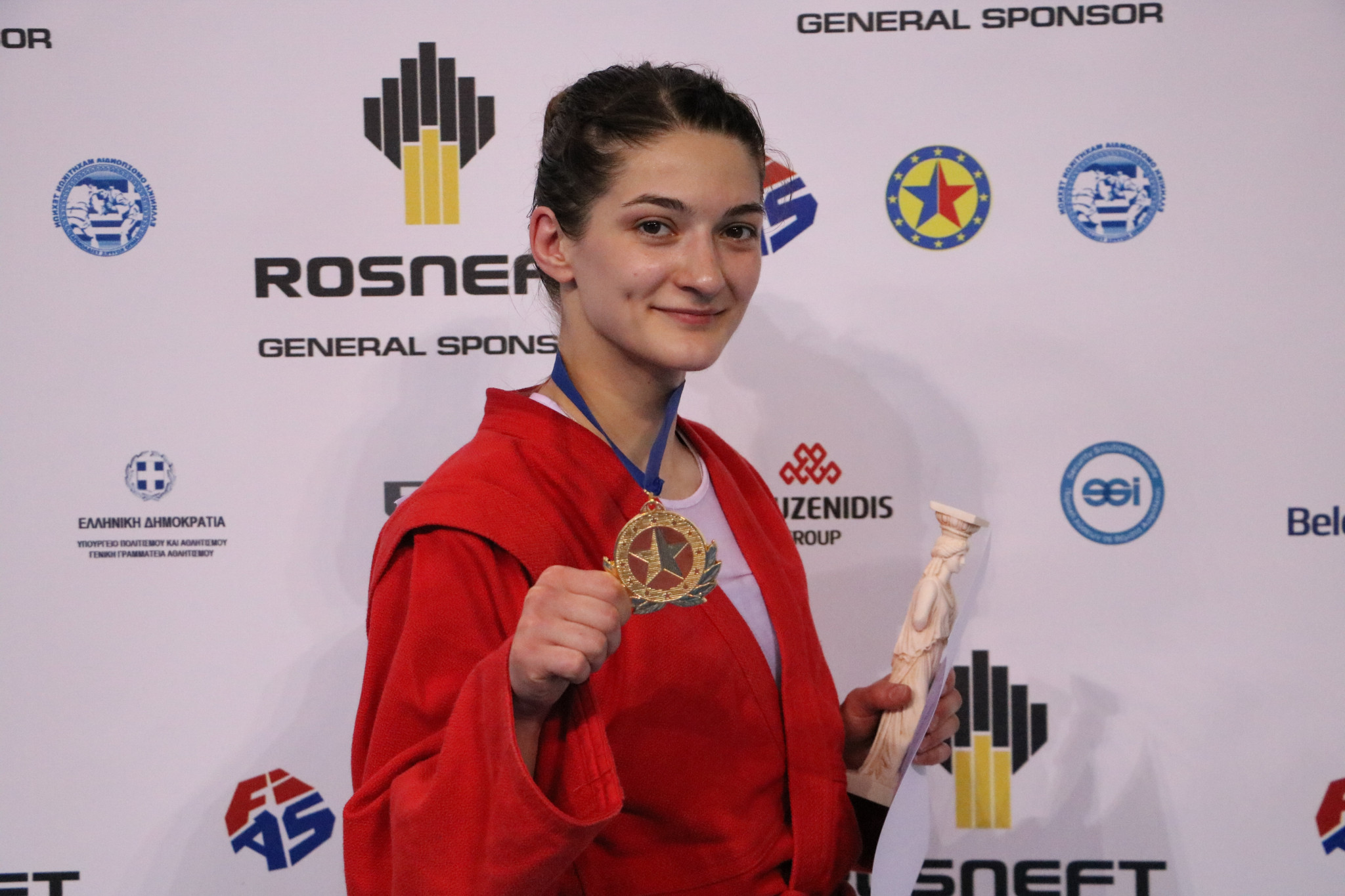 Anastasia Valova was one of Russia's six gold medallists on the final day of the 2018 European Sambo Championships in Athens ©FIAS