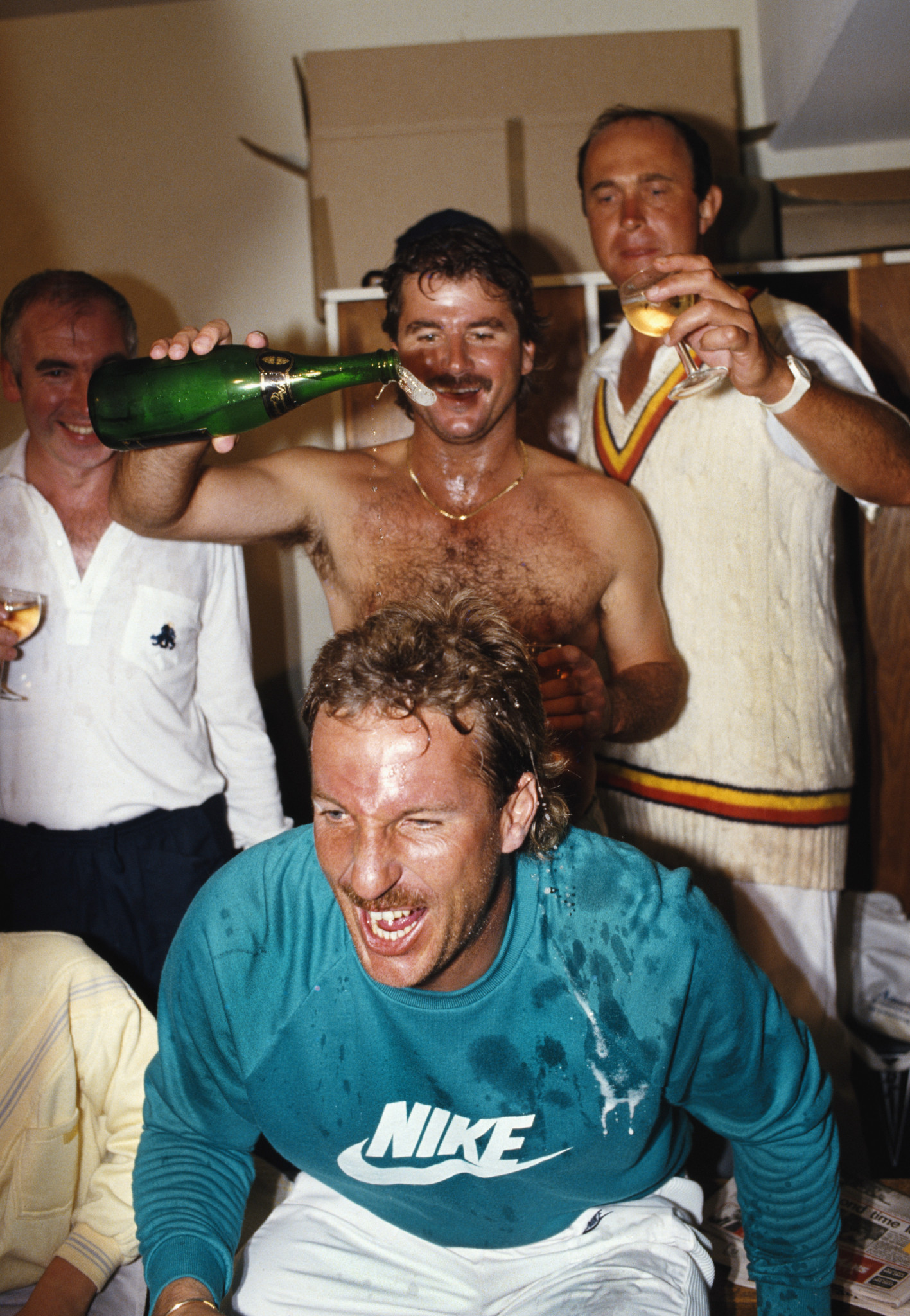 Ian Botham, front centre, and Allan Lamb, top centre, were partners in crime in terms of practical jokes as well as cricketers for England ©Getty Images