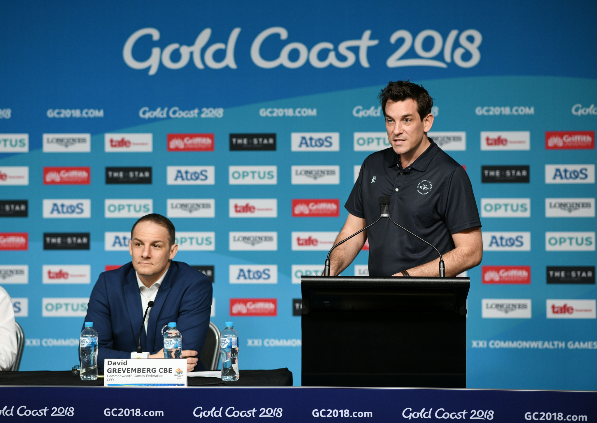 Ben Nichols pictured speaking at a press conference during the Commonwealth Games in Gold Coast last month ©Getty Images
