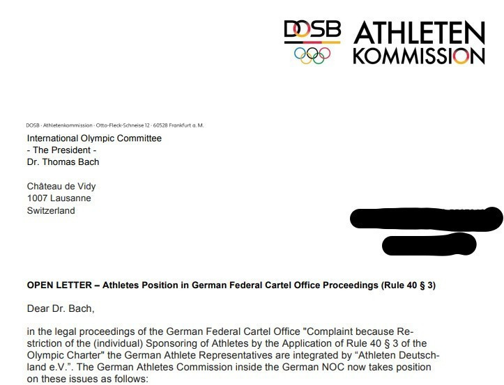The letter is addressed to IOC President Thomas Bach ©DOSB Athletes' Commission