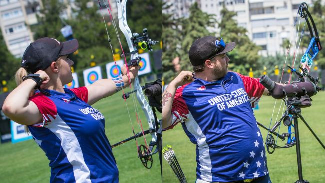 Paige Pearce Gore and Kristofer Schaff ensured the United States will have a place in both compound finals ©World Archery