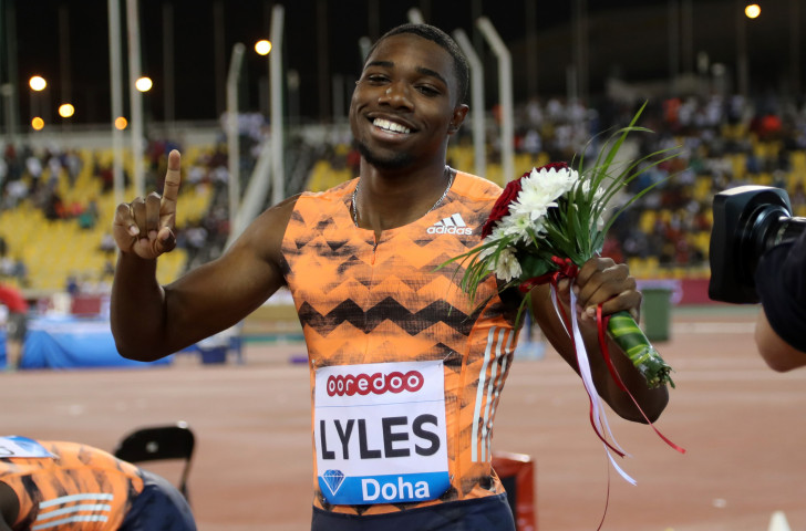 Twenty-year-old Noah Lyles of the United States, pictured after winning this month's opening 200m at the IAAF Diamond League meeting at Doha in a personal best of 19.83sec, is a formidable opponent for Tortu, but the Italian has now run faster than him over 100m ©Getty Images