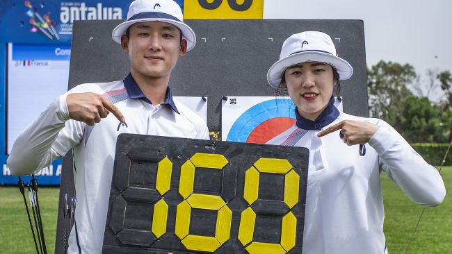 South Korea's Kim Jong-ho and So Chae-won broke the world record to set up a meeting with France in the mixed compound gold medal match ©World Archery