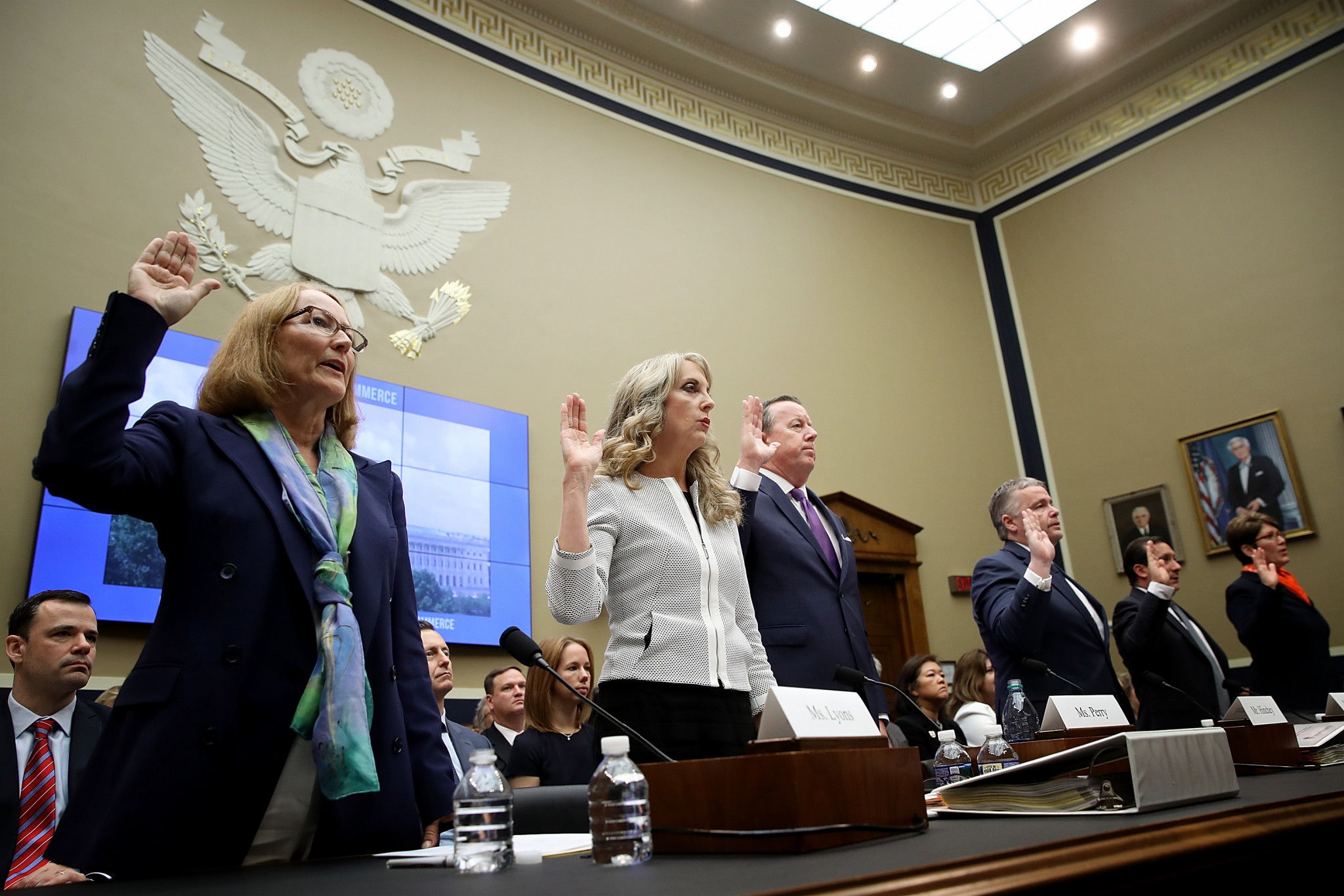 Kerry Perry, second left, testified at a House of Representatives Subcommittee yesterday ©Getty Images