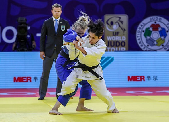 Christa Deguchi, the Japanese-born judoka who competes for Canada, bested team-mate Jessica Klimkait to take the top honours in the under-57kg division ©IJF