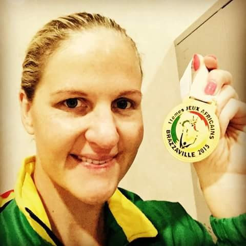 Kirsty Coventry celebrates after sealing her third gold medal of Brazzaville 2015 ©Twitter