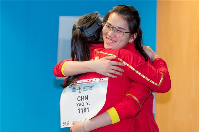 China's Xiong Yaxuan beat team-mate Yao Yushi to victory in the women's 25m pistol competition ©ISSF