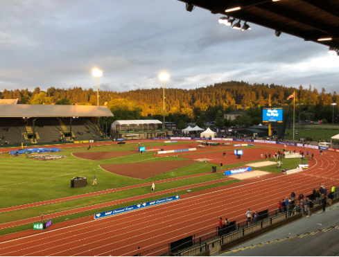 The historic setting of Hayward Field - which will be redeveloped next month - on the opening night of the IAAF Diamond League meeting ©Twitter