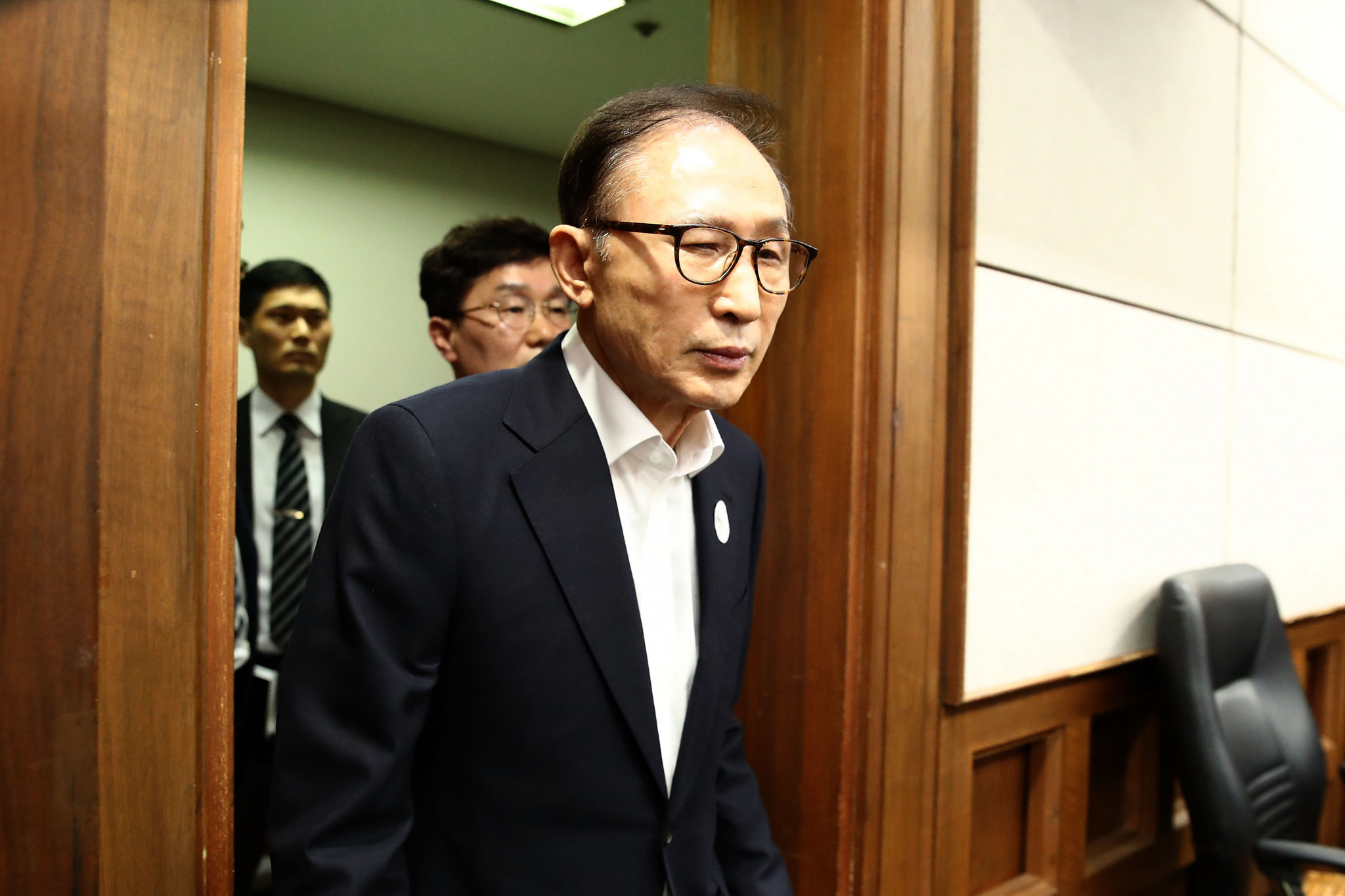 Lee Myung-bak appears for his court hearing in Seoul ©Getty Images