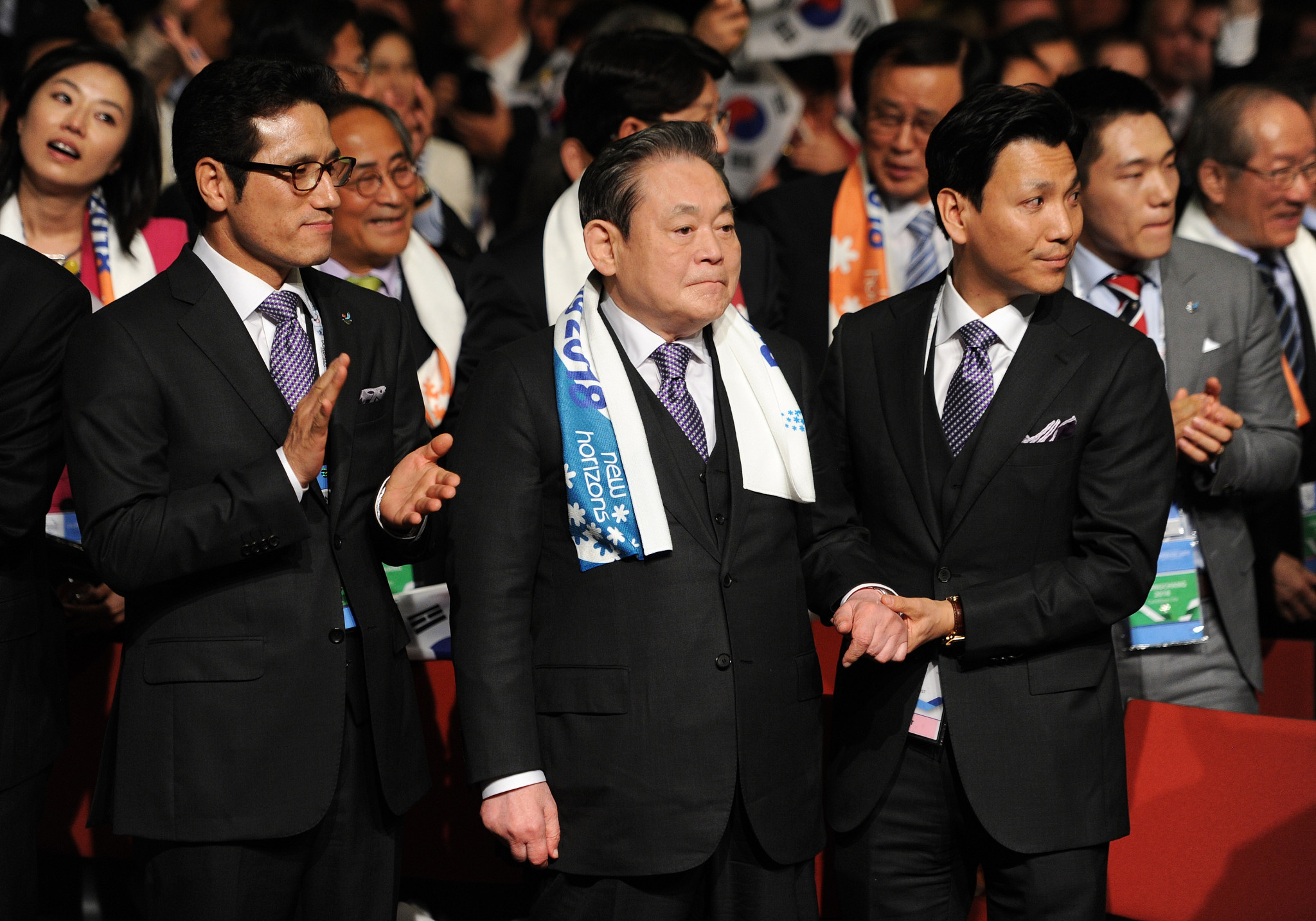 Lee Kun-hee, centre, was a key figure in Pyeongchang's successful Winter Olympic bid ©Getty Images
