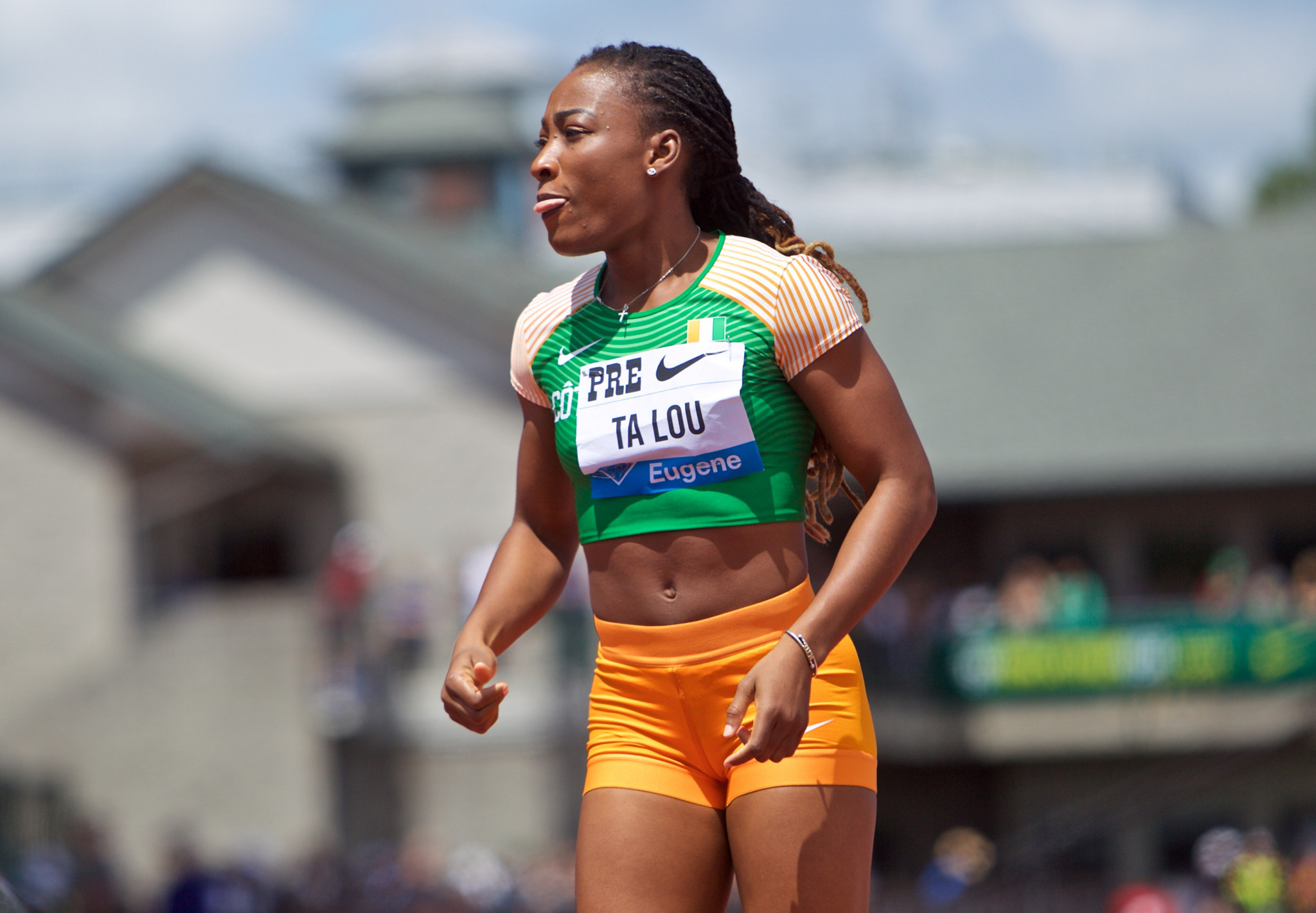 Ivory Coast's Marie-Josee Ta Lou won the women's 100m at the IAAF Diamond League in Eugene, Oregon ©Getty Images