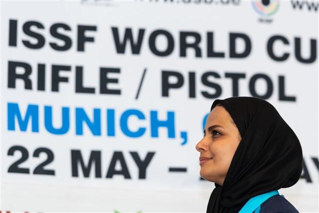 Iran's Elaheh Ahmadi upset the odds to win the women's 50m rifle three positions event ©ISSF