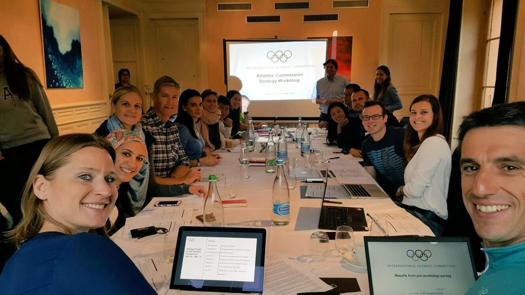 The IOC Athletes' Commission, pictured meeting last year under former chair Angela Ruggiero, from left, are often criticised for being an IOC mouthpiece ©Athletes' Hub/Twitter