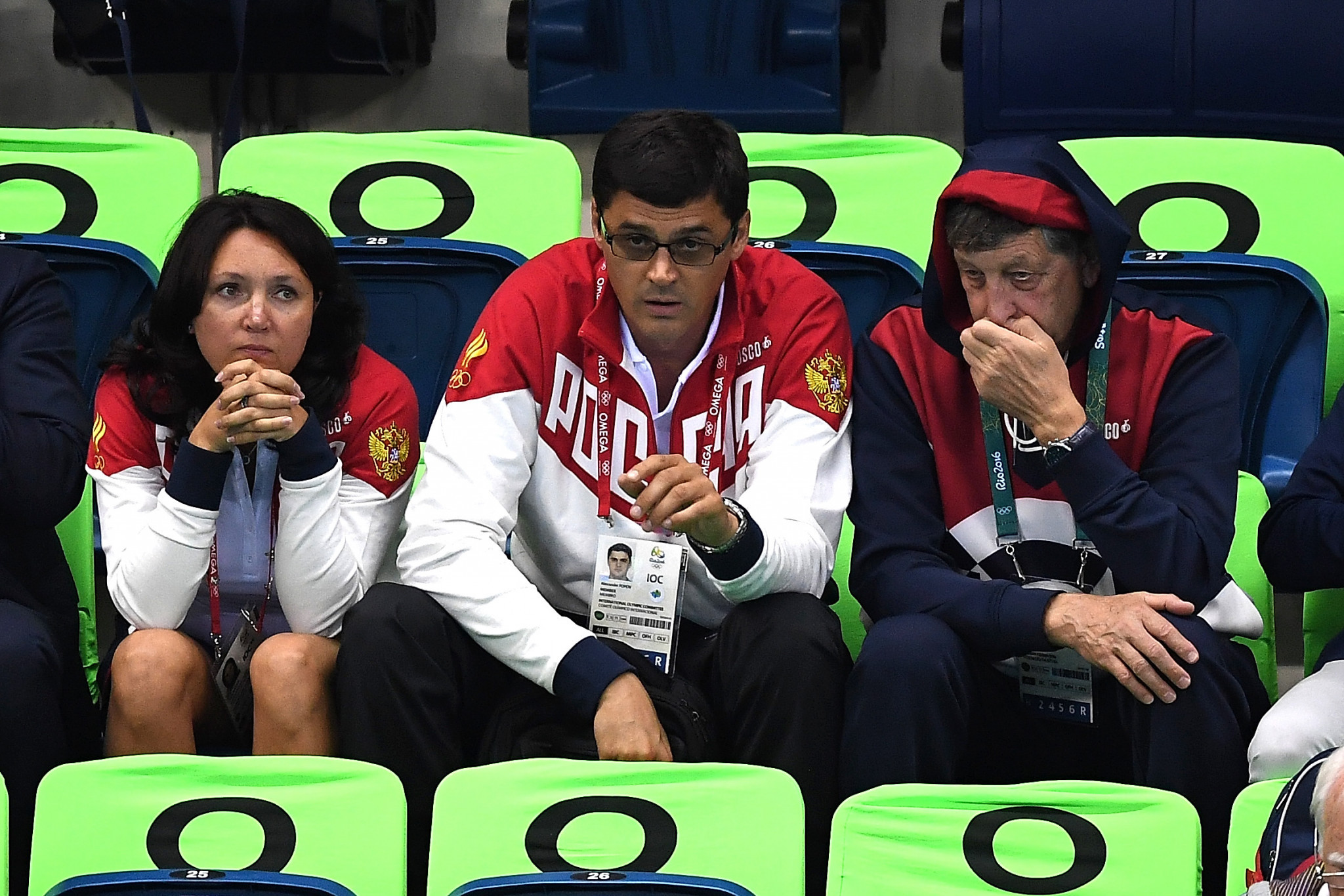 Alexander Popov, centre, was comfortably beaten in today's election ©Getty Images