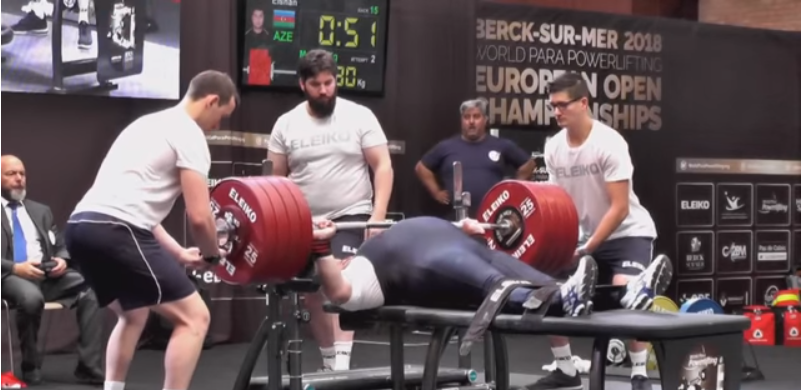 Azerbaijan's Elshan Huseynov came out on top in the men's up to 107kg event ©Paralympic Games/YouTube